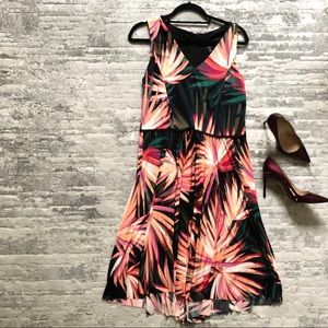 MAGGY LONDON | size 16 Tropical Print Dress